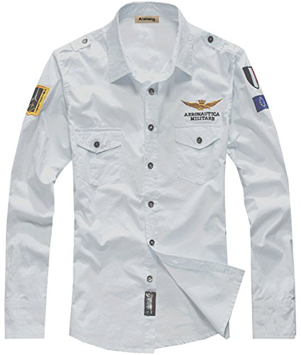 (SWORLD Mens Badges Embroidery patch Pilot Air Force Uniform long Sleeve Dress Shirt)
