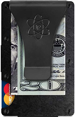 Forged Carbon Fiber Wallet RFID Blocking Credit Card Holder and Metal Money Clip by Rossm - Mini and Slim Minimalist Wallet for Men - Rigid Front Pocket ID and Cash EDC - Minimal Business Look