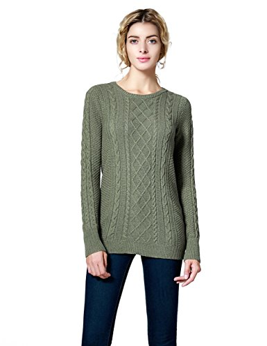 Ninovino Women's Crew Neck Cable Knit Pullover Sweater Green-XS (Cable X-small Knit)