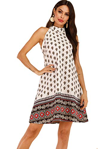 Womens Multi Color Dress - Floerns Women's Tribal Print Summer Chiffon Sleeveless Party Dress Multicolor-6 L