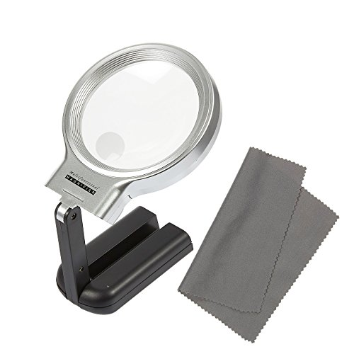 Magnifying Glass with Light - LED Lighted Folding Magnifier Stand for Reading, Maps, Small Print - 2.5x 4.5x Magnification, Includes Cleaning - Bright Compare Eyes And Contrast