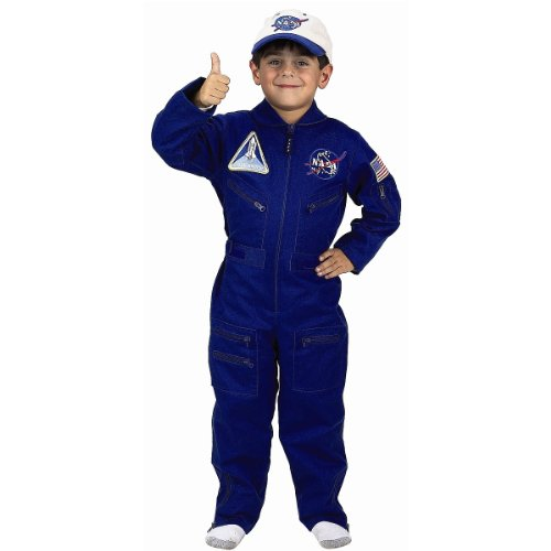Jr Astronaut Costumes (Aeromax Jr. NASA Flight Suit, Blue, with Embroidered Cap and offical looking patches)