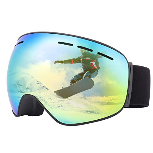 Elehealthy UV400 OTG Ski Goggles with Dual Layers Revo Lens, Anti-Fog UV Protection Snow Goggles Anti-Slip Strap for Men,Women and Youth