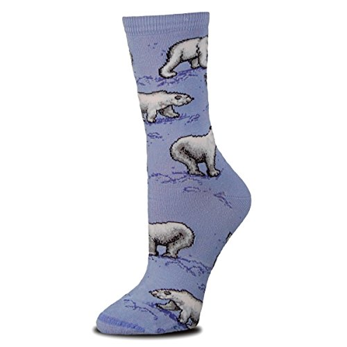 Playful Polar Bear (Polar Bear Blue Socks Animal Den,Blue,women's shoe size 6-11 Men's shoe size 5-10)