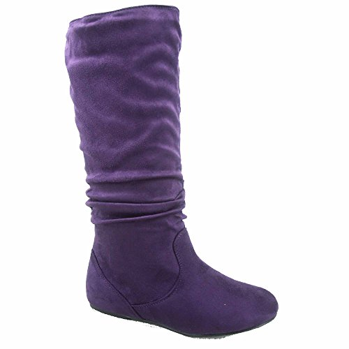 (TOP Moda Data-1 Women's Shoes Cute & Comfort Round Toe Flat Heel Slouchy Mid Calf Boot (7, Purple))