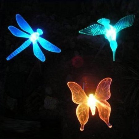 Cheap Hummingbird, Butterfly & Dragonfly Solar Garden Stake Lights, 3 in a Set