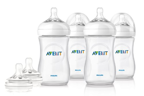Philips AVENT Clear Natural 4pk Bottles 9oz w/ 2pk Fast F...