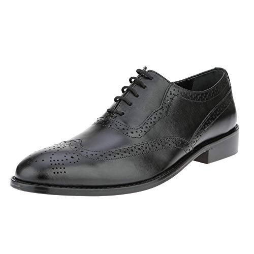 - Liberty Men's Brogue Perforated/Burnished Toe Handmade Leather Wing-tip Lace up Oxford Dress Shoes (9.5, Black)