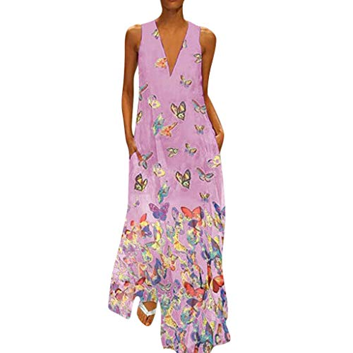 (Aniywn Ladies Deep V Neck Long Dress Plus Size Casual Sleeveless Maxi Dress Women's Floral Printed Party Dresses Hot Pink)