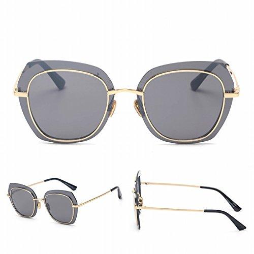 2 Transparente Grenze Farbe Linse Hit Farbe Sonnenbrille Platz Unisex Go Show Sonnenbrille Runde Gesicht Goldrahmen Grau Graue Platte dpTs195