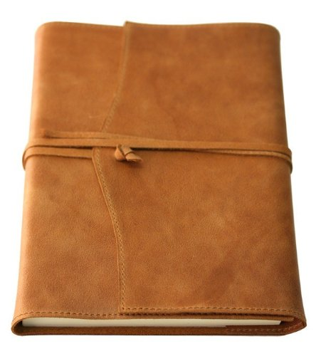 Amalfi Large Refillable Leather Journal with Plain Paper - Tan