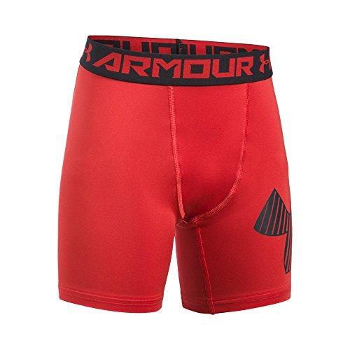 Under Armour Boys' HeatGear Armour Mid Shorts, Red /Black, Youth Medium