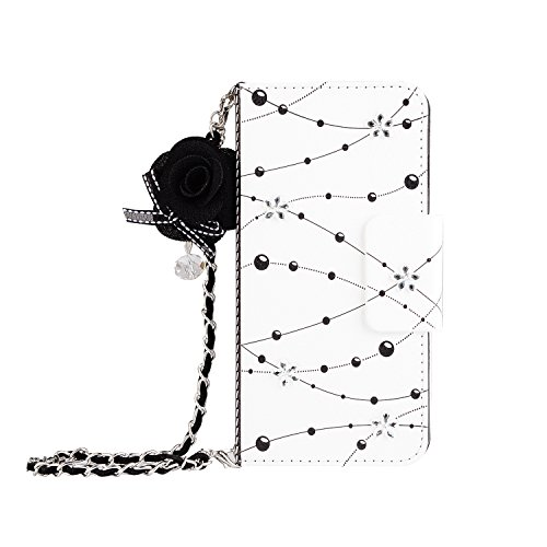 Leather Wallet Case iPhone 6,iPhone 6S Women HandBag Case with Chian,Gostyle Fashionable Luxury Crystal Flower Pattern PU Flip Magnetic Case with Credit Card Holder and Wristlet Strap.