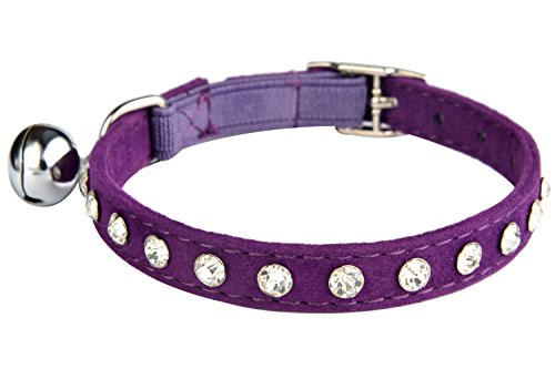KOOLTAIL Purple Velvet Cat Collar with Bell and Safety Elastic Belt Rhinestones Crystal Jeweled 8-11 Inches