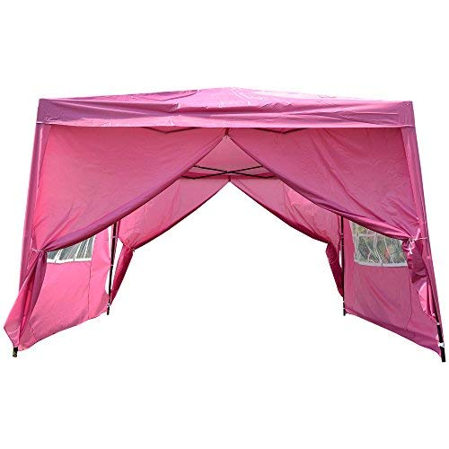 MCombo EZ Pop Up Wedding Party Tent Folding Gazebo Camping Canopy with Sides, 10' x 10', Pink -