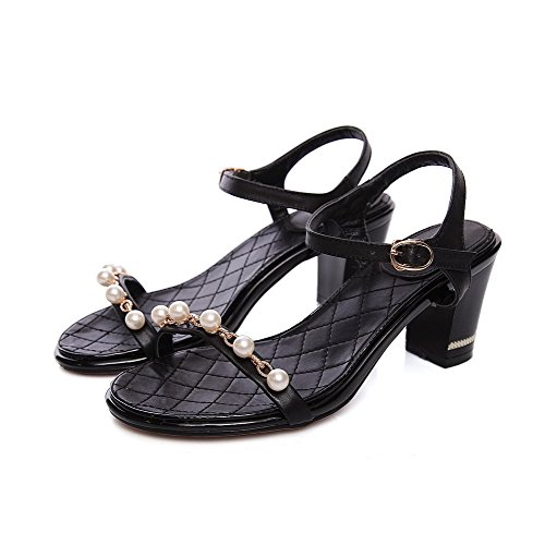Amoonyfashion Donna Solido Materiale Morbido Gattini Con Fibbia Open Toe Sandali Neri