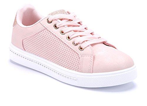 Schuhtempel24 Damen Schuhe Low Sneaker Flach Glitzer/Ziersteine Rosa