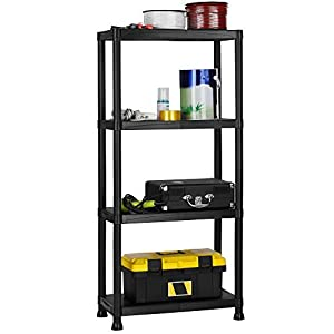 VonHaus 4 Tier Plastic Shelving Utility Unit Shed Garage Storage Freestanding Shelves System - 100Kg Capacity - 25Kg Per Shelf - Ideal Office, Garden, Studio, Workshop - 132 x 61 x 30.5cm - Wall Braces