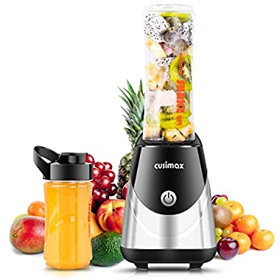 Professional Personal Blender, Smoothie Maker, CUSIMAX Bullet Blender for Shakes, Juice and Smoothies, 250W with 20 oz and 14oz Travel Sport Bottles