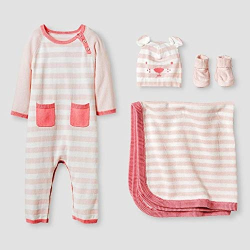 Cat Organic Blanket - Baby Girls' Organic Sweater Romper, Hat, Bootie and Blanket Set – Cat & Jack Pink 3-6 Months