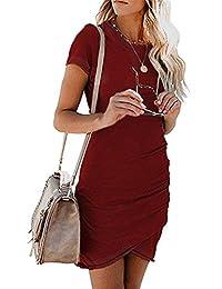 pabo store Women Short Sleeve Sheath Dress Irregular Hem Bodycon Mini Dress