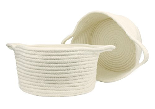 Orino Cotton Rope Storage Baskets With Handles Soft Durable Laundry Baskets Toy Storage Nursery Bins Home Decorations Blanket basket, Set of 2 (11.81x10.23x6.23 inch, Medium, Off White)]()