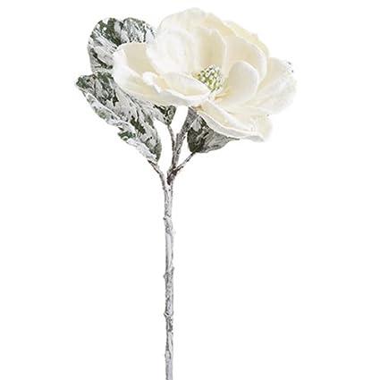 Amazon 32 beaded snowed magnolia silk flower stem white 32quot beaded snowed magnolia silk flower stem whitesnow mightylinksfo