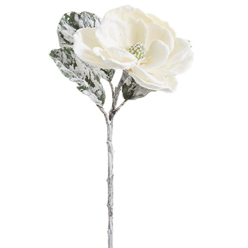 32'' Beaded & Snowed Magnolia Silk Flower Stem -White/Snow (pack of 12) by SilksAreForever