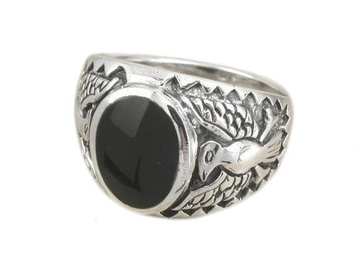 925 Sterling Silver Mens German Engraved Eagle Oval Black Onyx Ring - Silver Sterling Eagle Ring