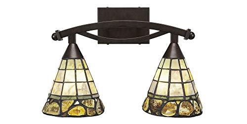 Toltec Lighting 172-BRZ-9735 Bow - Two Light Bath Bar, Bronze Finish with Cobblestone Tiffany Glass