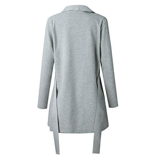ZFFde Cintura Cárdigan tamaño Puro Correa Invierno Cuello Vendaje Color Abrigo Grey V Irregular M Mujeres Color t6IrwIqB