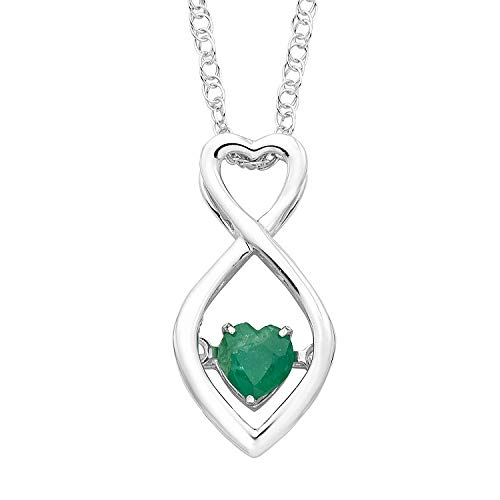 Boston Bay Diamonds Brilliance in Motion 925 Sterling Silver Dancing Heart-Shaped Infinity Created Emerald May Birthstone Pendant Necklace, 18