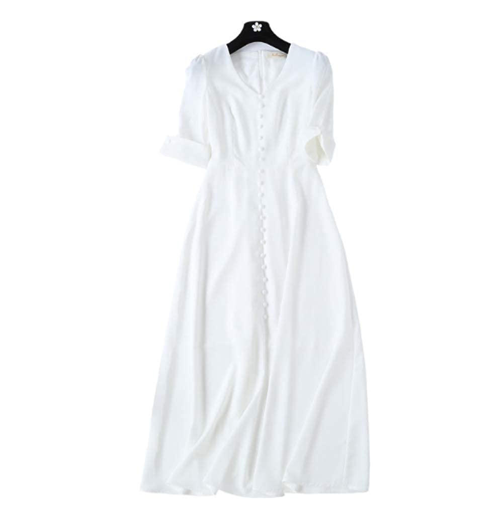 - WLFCMJ Robe d'été à Manches Courtes et col en V avec Fermeture éclair Blanche à la Taille et à la Taille