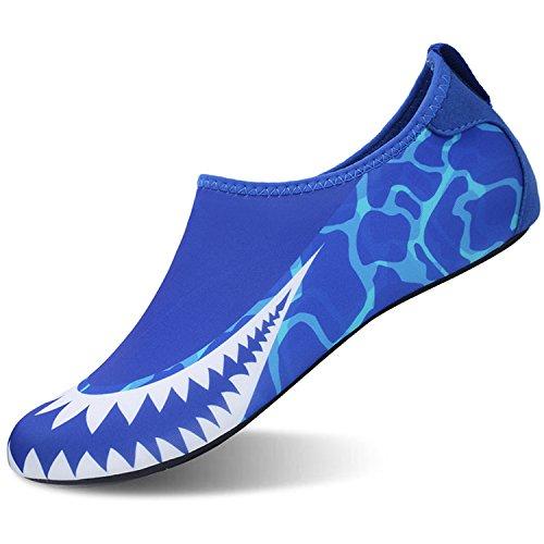 Centipede Demon Mens Pool Shoes Barefoot Women Athletic Flats Golf Shoes Blue Shark