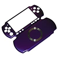XFUNY® Case for PSP 3000, Aluminum Hard Protective Case Cover Shell Guard Protector Faceplate Decal Mod for Sony PSP 3000 Console - Golden (Purple)