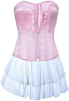 JapanAttitude Corsé Rosa con Zip, Flot y Mini Falda Blanca Kawaii ...