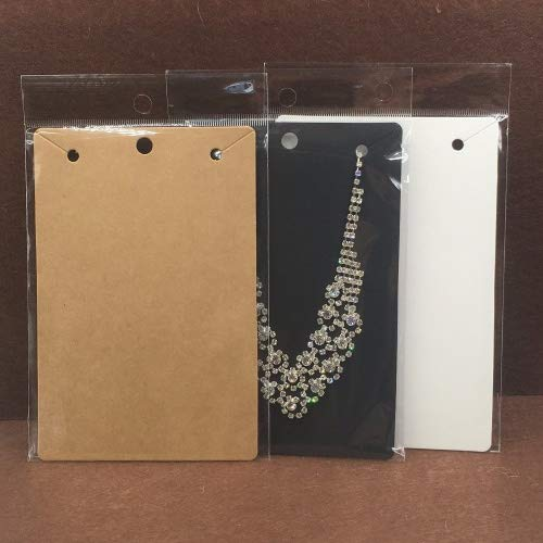 Lavenz 50pcs 15x10cm Kraft Necklace Cards+50pcs OPP Bags, Big Necklace Packaging Displays Card and Blank Pendant Paper Cards