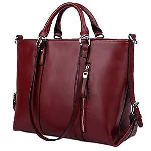 Yaluxe Cuero Mujer Ordenador portátil Bolsa de Trabajo Compras Bolsa de Hombro de 3 Maneras Rojo