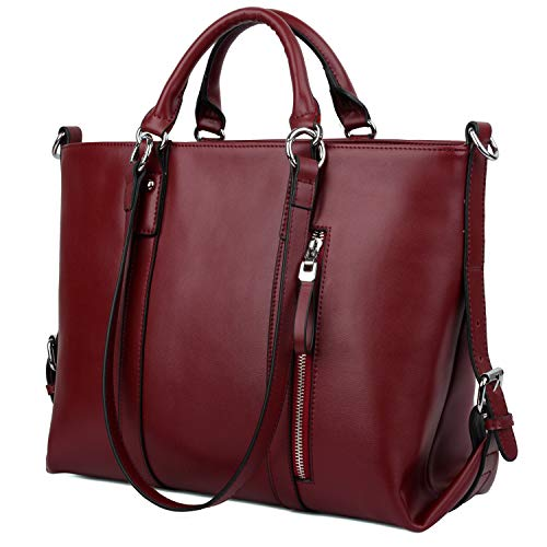 """[UPGRADED VERSION - FITS 13"""" LAPTOP EASILY] Yaluxe 100% Full Leather Women's 3-Way Laptop Office Work Tote Handbag Shoulder Bags Wind Red"""
