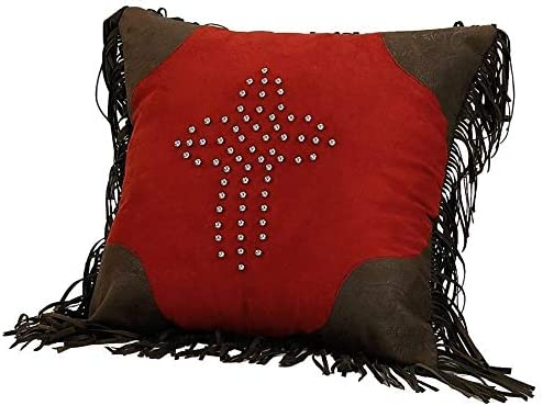 HiEnd Accents Western Red Faux Suede Studded Cross Throw Pillow w Fringe, 1 6 x 1 6