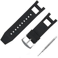 [Sponsored]Adebena Black Rubber Silicone Watch Band Strap...