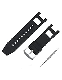 Adebena Black Rubber Silicone Watch Band Strap with Stainless Steel Buckle for invicta Subaqua Noma III
