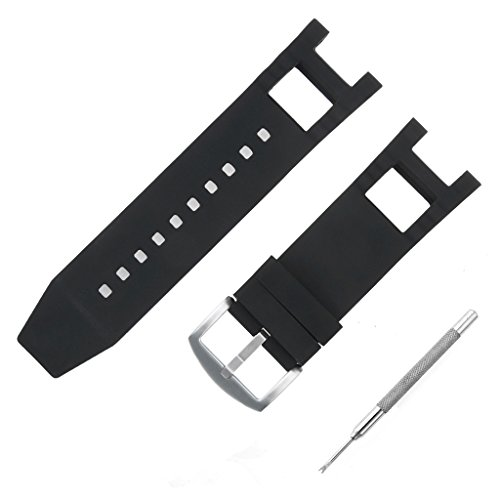 Adebena Black Rubber Silicone Watch Band Strap with Stainless Steel Buckle for invicta Subaqua Noma III by Adebena