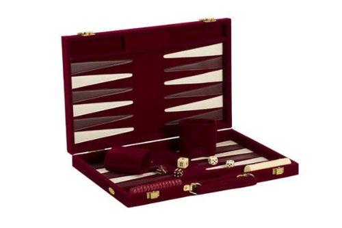 """18"""" Recreational Velvet Backgammon Board Game Case, Burgundy"""