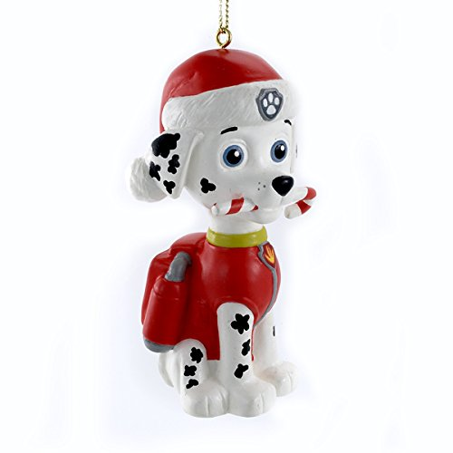 paw patrol marshall with candy cane christmas ornament