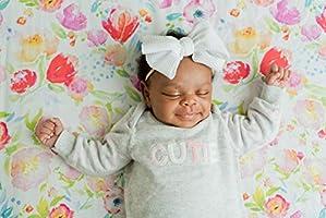 Sábana bajera ajustable 100% algodón orgánico de ADDISON Belle, ropa de cama de bebé de primera calidad, suave, transpirable y duradera. Acuarela Floral: Amazon.es: Hogar