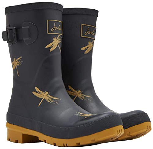 Joules Women's Molly Welly Rain Boot (10 M US Women / 9 M US Men, Black Dragonfly) (Dachshund Boots Rain)