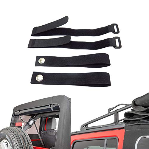 (MFC Rear Window Roll Up Snap Straps & Soft Top Sunrider Straps, for Jeep Wrangler 2007-2019, Black)