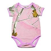 Realtree Camo Onesie Bodysuit, Overdye Pink, 0-3 Months