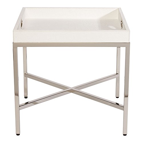 Ethan Allen Bradstreet Bunching Coffee Table, White / Polished Nickel (Square Bunching Cocktail Table)